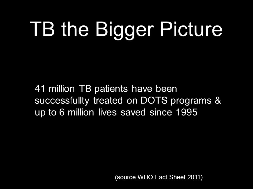 TB the Bigger Picture 41 million TB patients have been successfullty treated on DOTS programs & up to 6 million lives saved since 1995 (source WHO Fact Sheet 2011)
