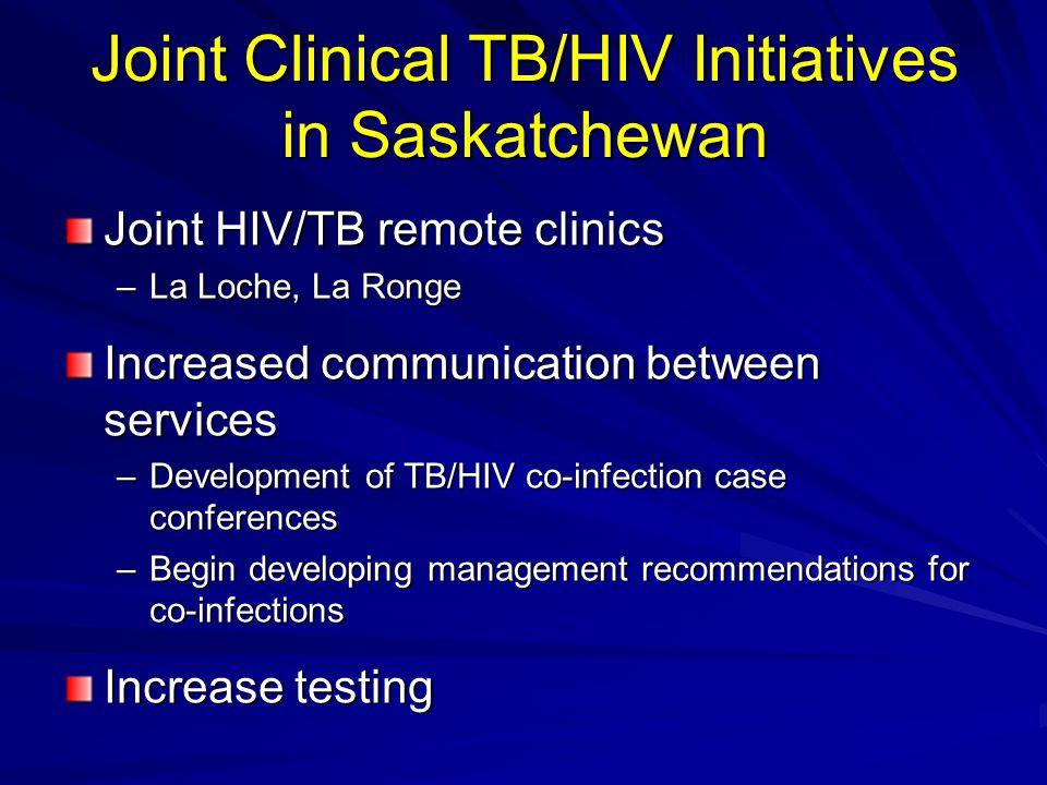 Joint Clinical TB/HIV Initiatives in Saskatchewan Joint HIV/TB remote clinics –La Loche, La Ronge Increased communication between services –Developmen