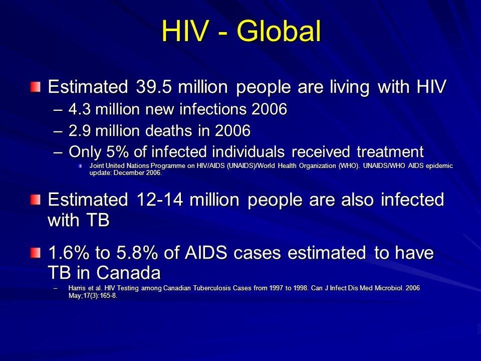HIV - Global Estimated 39.5 million people are living with HIV –4.3 million new infections 2006 –2.9 million deaths in 2006 –Only 5% of infected indiv