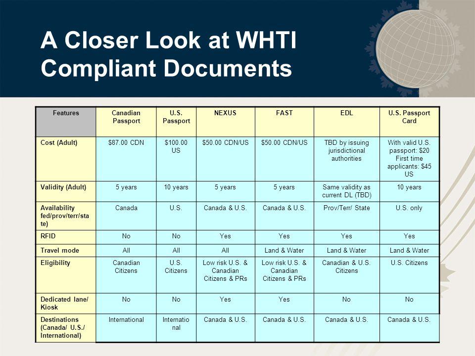 15 A Closer Look at WHTI Compliant Documents FeaturesCanadian Passport U.S.