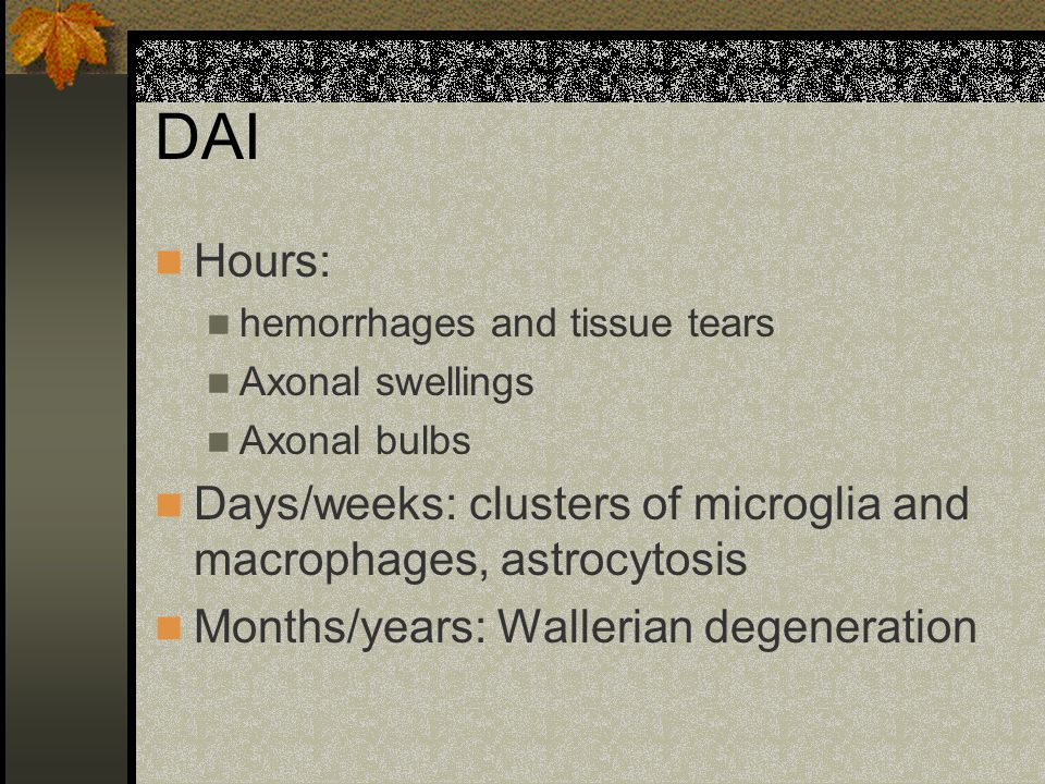 DAI Hours: hemorrhages and tissue tears Axonal swellings Axonal bulbs Days/weeks: clusters of microglia and macrophages, astrocytosis Months/years: Wa