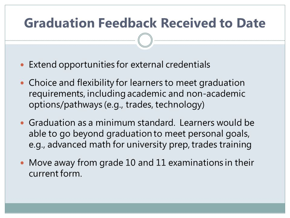 Response to Assessment, Reporting, and Graduation Feedback What resonates with you about feedback received to date.