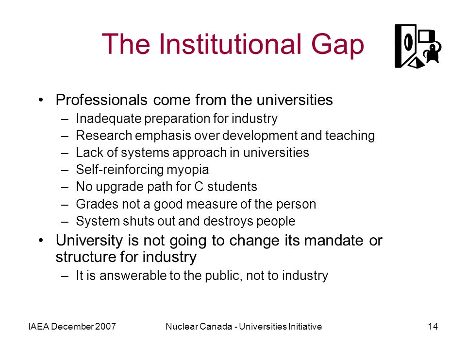 IAEA December 2007Nuclear Canada - Universities Initiative14 The Institutional Gap Professionals come from the universities –Inadequate preparation fo
