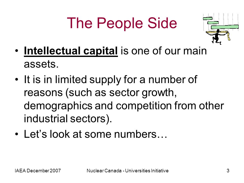IAEA December 2007Nuclear Canada - Universities Initiative3 The People Side Intellectual capital is one of our main assets. It is in limited supply fo