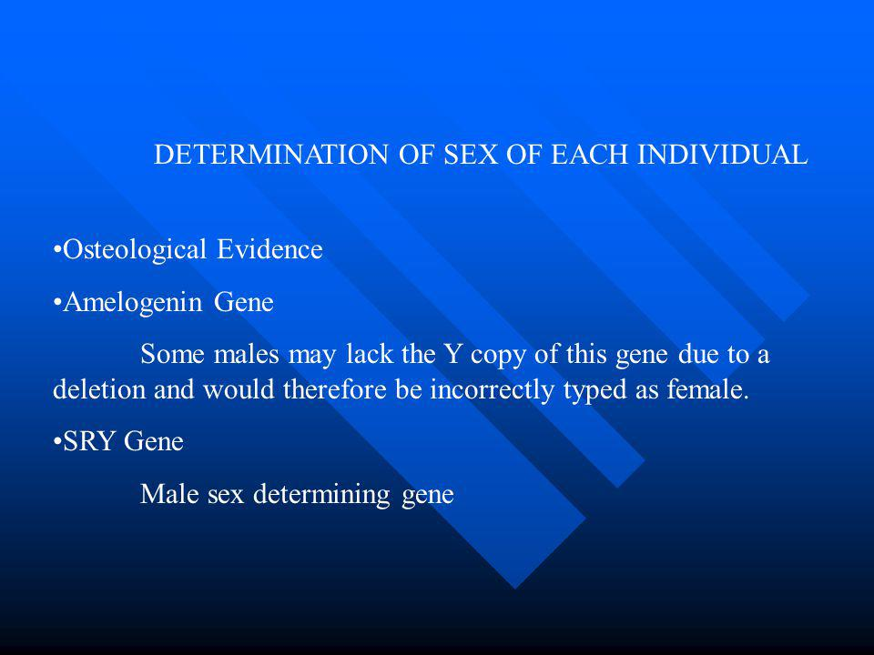 DETERMINATION OF SEX OF EACH INDIVIDUAL Osteological Evidence Amelogenin Gene Some males may lack the Y copy of this gene due to a deletion and would therefore be incorrectly typed as female.