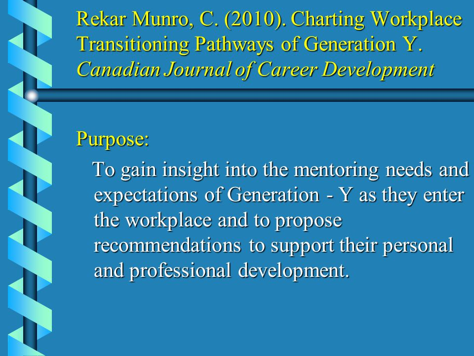 Rekar Munro, C. (2010). Charting Workplace Transitioning Pathways of Generation Y.