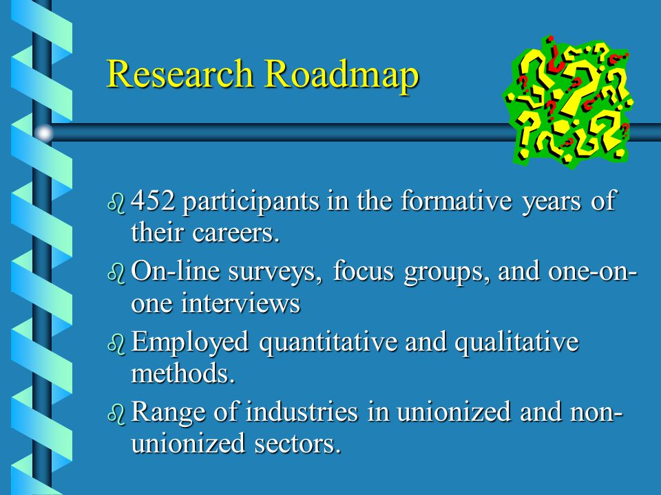 Research Roadmap b 452 participants in the formative years of their careers.
