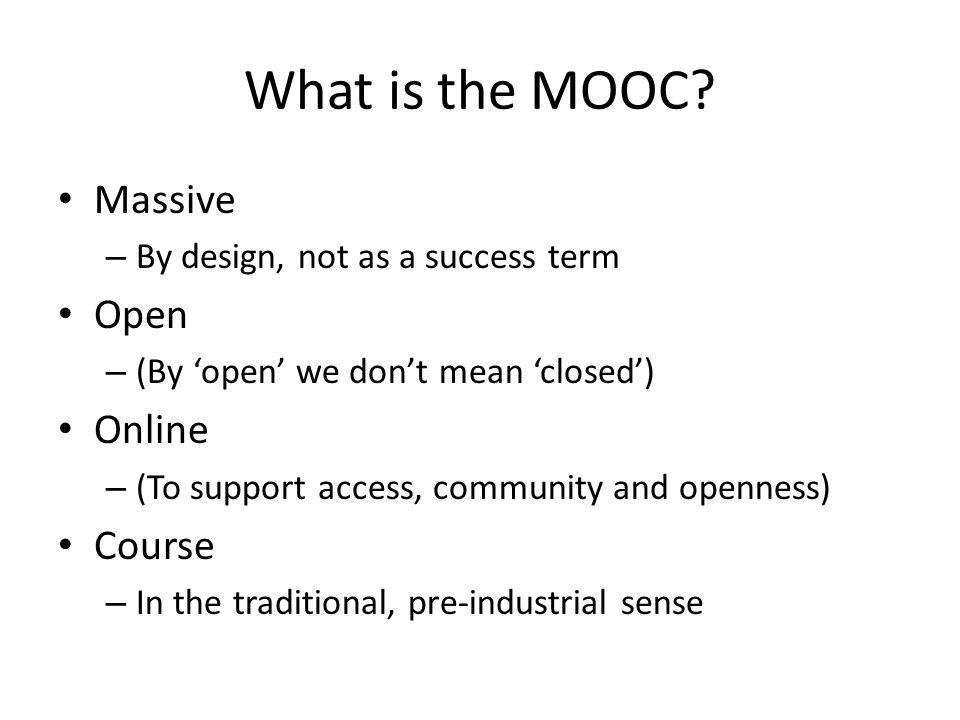 What is the MOOC.