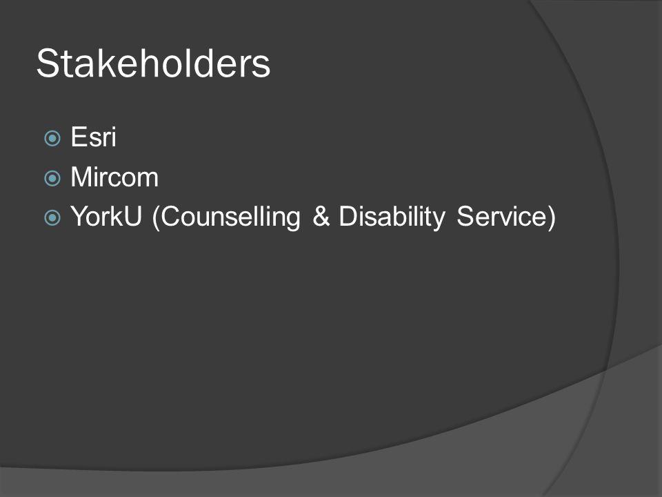 Stakeholders  Esri  Mircom  YorkU (Counselling & Disability Service)