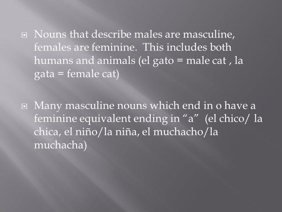  Nouns that describe males are masculine, females are feminine.