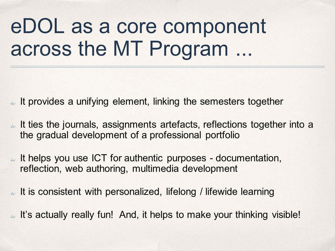 eDOL as a core component across the MT Program...