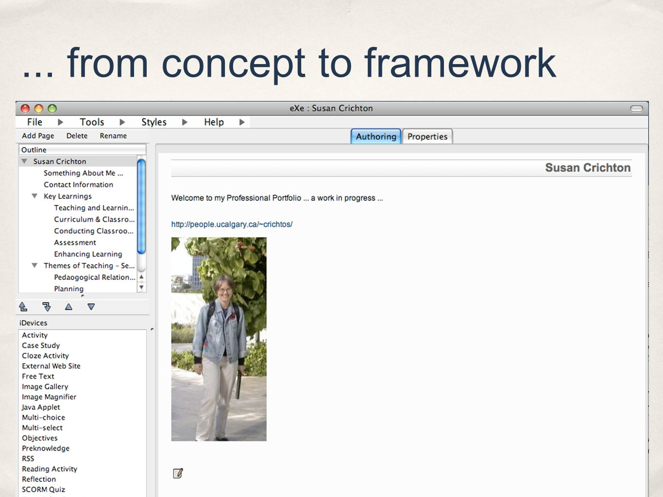 ... from concept to framework