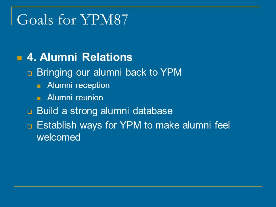 Goals for YPM87 4.