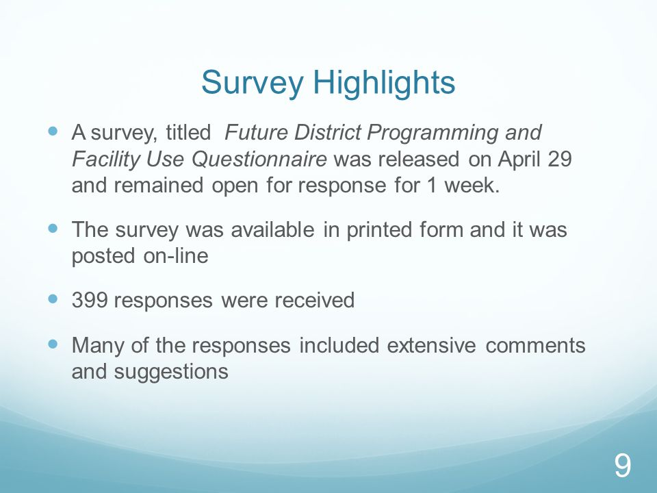 Survey Highlights A survey, titled Future District Programming and Facility Use Questionnaire was released on April 29 and remained open for response for 1 week.