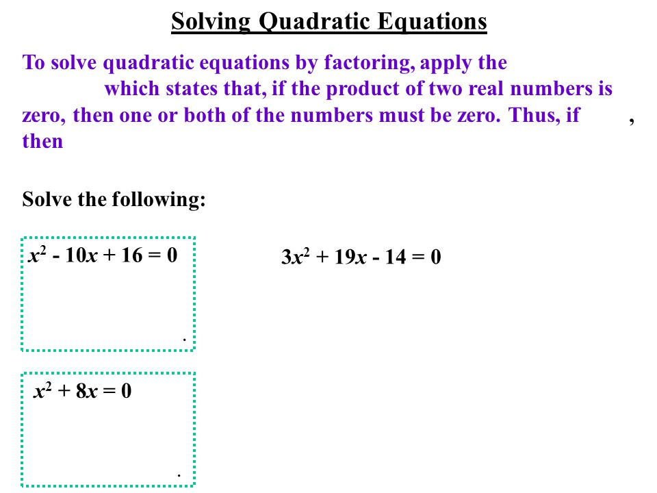 To solve quadratic equations by factoring, apply the which states that, if the product of two real numbers is zero, then one or both of the numbers must be zero.