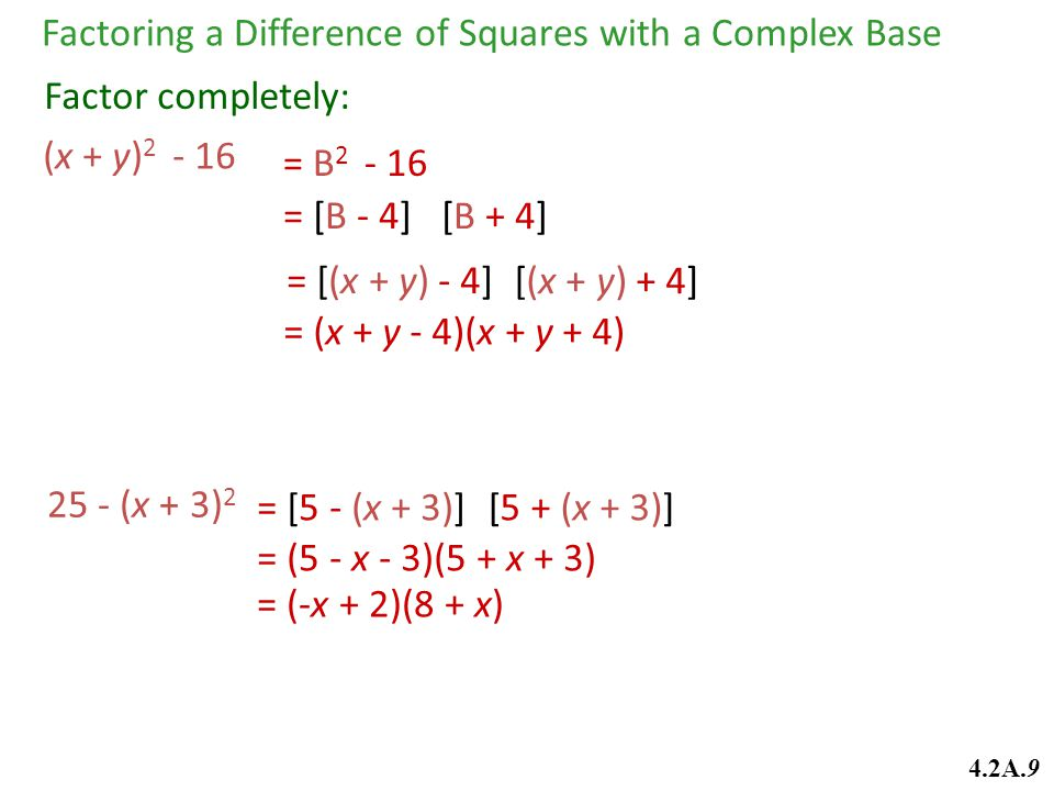 = [(x + y) - 4] (x + y) 2 - 16 Factor completely: = (x + y - 4)(x + y + 4) [(x + y) + 4] Factoring a Difference of Squares with a Complex Base = [B -
