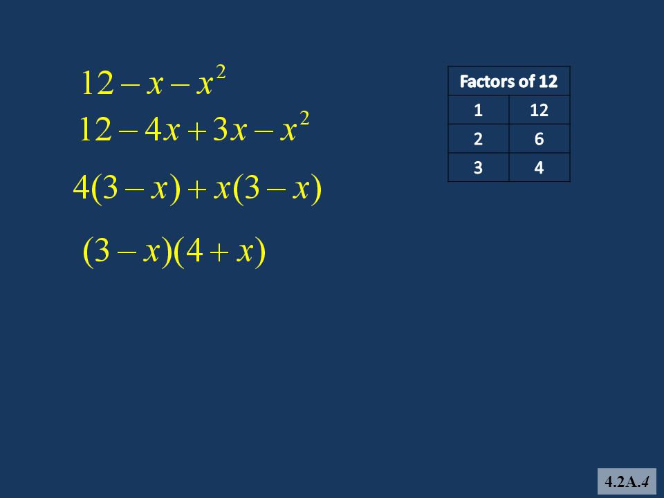 Recall: (3x + 2)(x + 5) = 3x(x + 5) +2(x + 5) = 3x 2 + 15x + 2x + 10 = 3x 2 + 17x + 10 To factor 3x 2 + 17x + 10, find two numbers that have a product of 30 and a sum of 17.