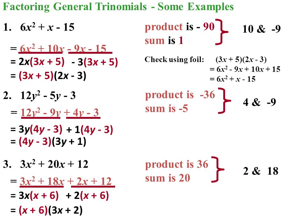 Factoring General Trinomials - the Inspection Method Factor: 6x 2 - 11x + 3 1.