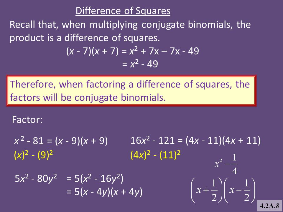Difference of Squares Recall that, when multiplying conjugate binomials, the product is a difference of squares. (x - 7)(x + 7) = x 2 + 7x – 7x - 49 =