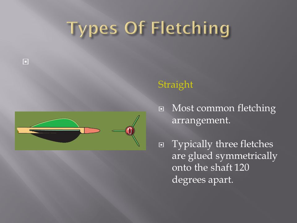  Straight  Most common fletching arrangement.  Typically three fletches are glued symmetrically onto the shaft 120 degrees apart.