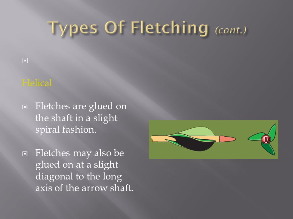  Helical  Fletches are glued on the shaft in a slight spiral fashion.  Fletches may also be glued on at a slight diagonal to the long axis of the a