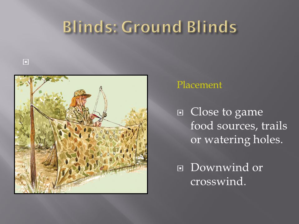  Placement  Close to game food sources, trails or watering holes.  Downwind or crosswind.