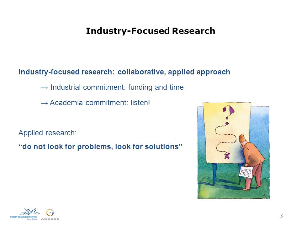Industry-Focused Research Industry-focused research: collaborative, applied approach → Industrial commitment: funding and time → Academia commitment: listen.