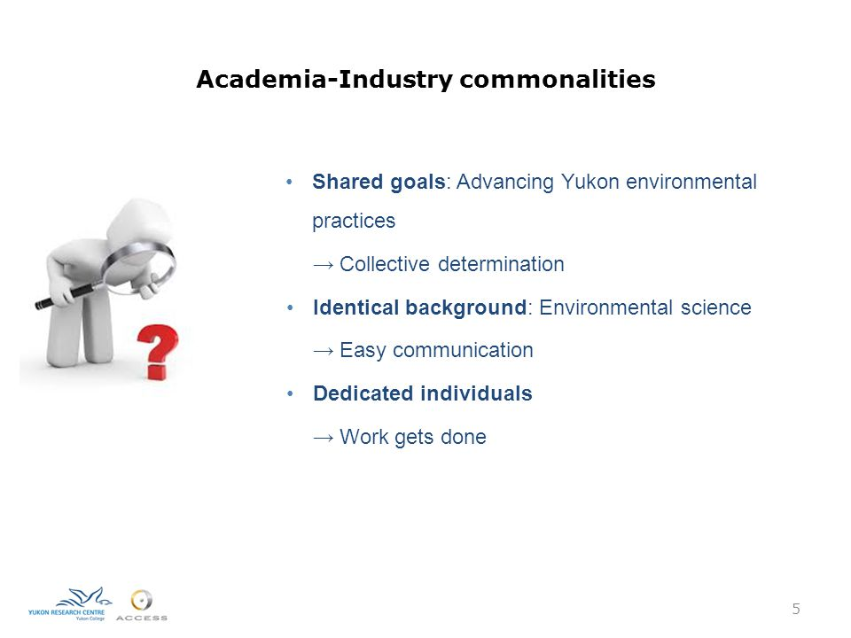 Academia-Industry commonalities 5 Shared goals: Advancing Yukon environmental practices → Collective determination Identical background: Environmental science → Easy communication Dedicated individuals → Work gets done