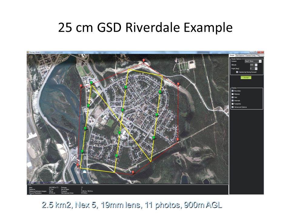 25 cm GSD Riverdale Example 2.5 km2, Nex 5, 19mm lens, 11 photos, 900m AGL
