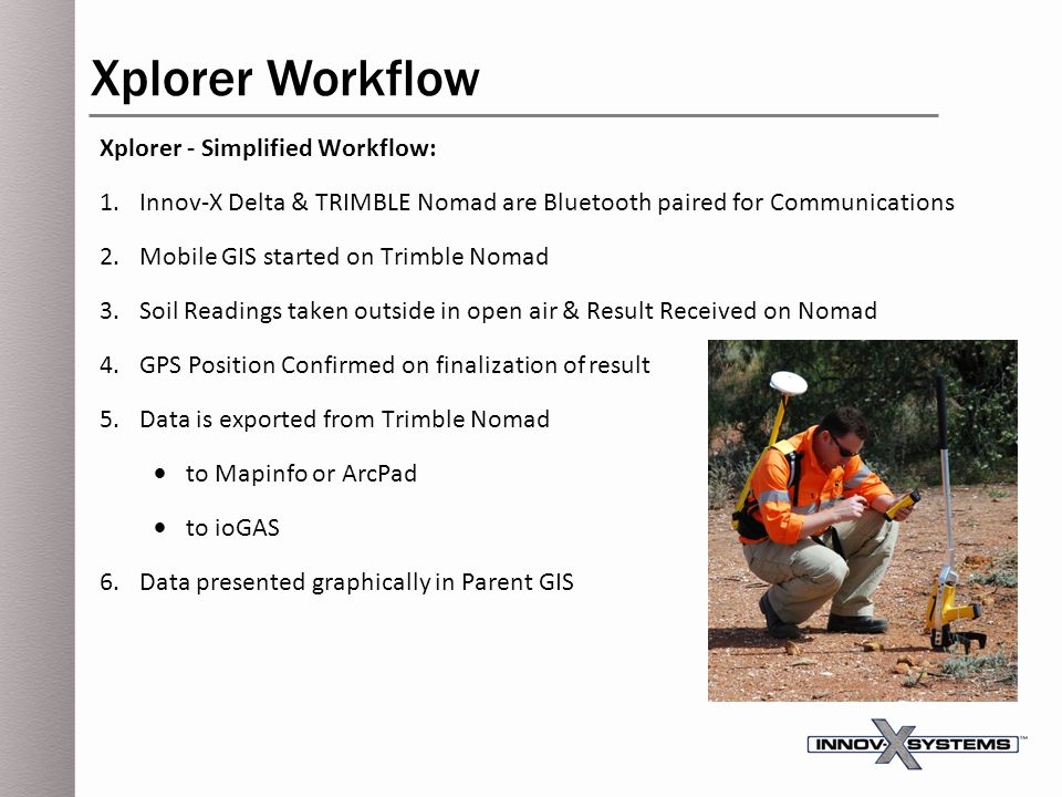 Xplorer - Simplified Workflow: 1.Innov-X Delta & TRIMBLE Nomad are Bluetooth paired for Communications 2.Mobile GIS started on Trimble Nomad 3.Soil Re