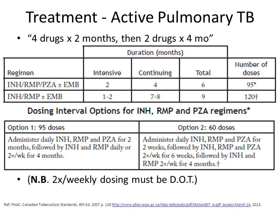 Treatment - Active Pulmonary TB 4 drugs x 2 months, then 2 drugs x 4 mo (N.B.