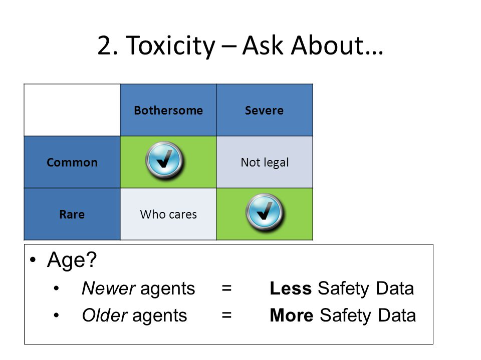 2.Toxicity – Ask About… BothersomeSevere CommonNot legal RareWho cares Age.