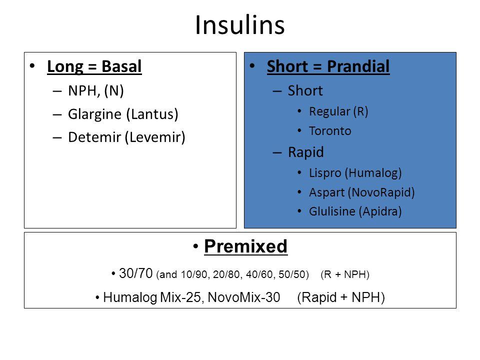 Insulins Long = Basal – NPH, (N) – Glargine (Lantus) – Detemir (Levemir) Short = Prandial – Short Regular (R) Toronto – Rapid Lispro (Humalog) Aspart