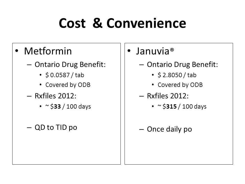 Cost & Convenience Metformin – Ontario Drug Benefit: $ 0.0587 / tab Covered by ODB – Rxfiles 2012: ~ $33 / 100 days – QD to TID po Januvia ® – Ontario