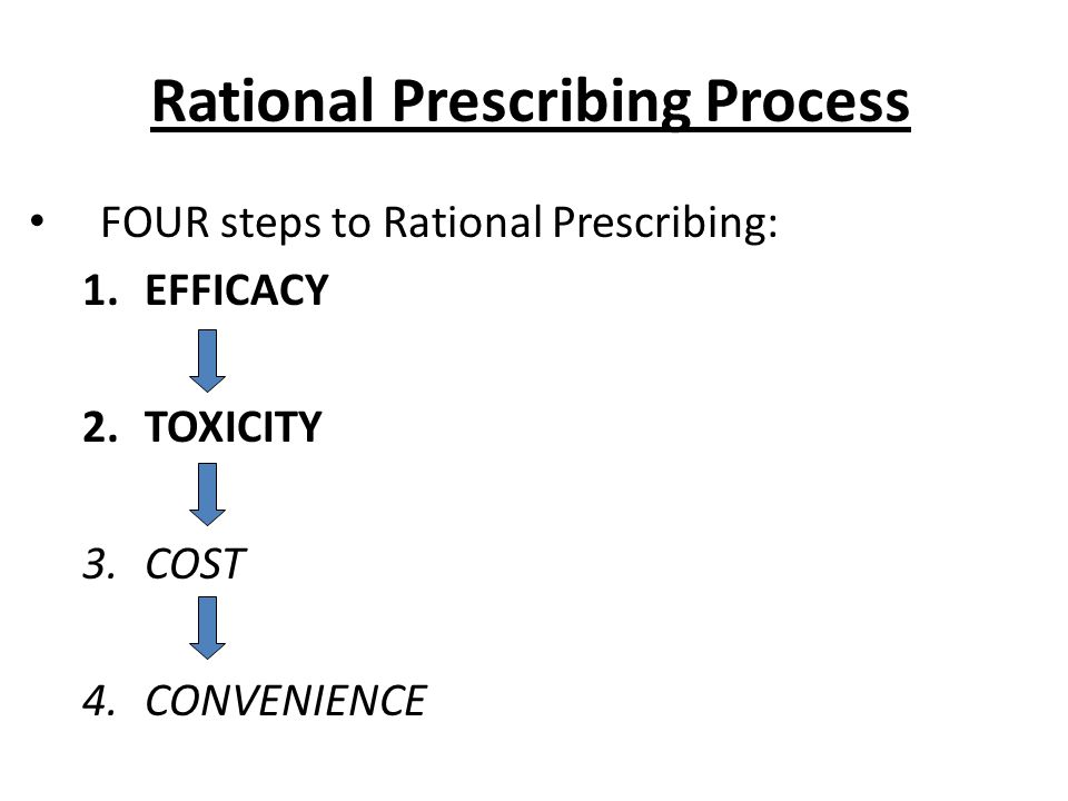 Rational Prescribing Process FOUR steps to Rational Prescribing: 1.EFFICACY 2.TOXICITY 3.COST 4.CONVENIENCE