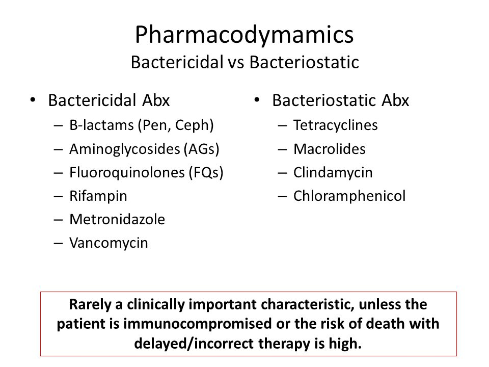 Pharmacodymamics Bactericidal vs Bacteriostatic Bactericidal Abx – B-lactams (Pen, Ceph) – Aminoglycosides (AGs) – Fluoroquinolones (FQs) – Rifampin – Metronidazole – Vancomycin Bacteriostatic Abx – Tetracyclines – Macrolides – Clindamycin – Chloramphenicol Rarely a clinically important characteristic, unless the patient is immunocompromised or the risk of death with delayed/incorrect therapy is high.