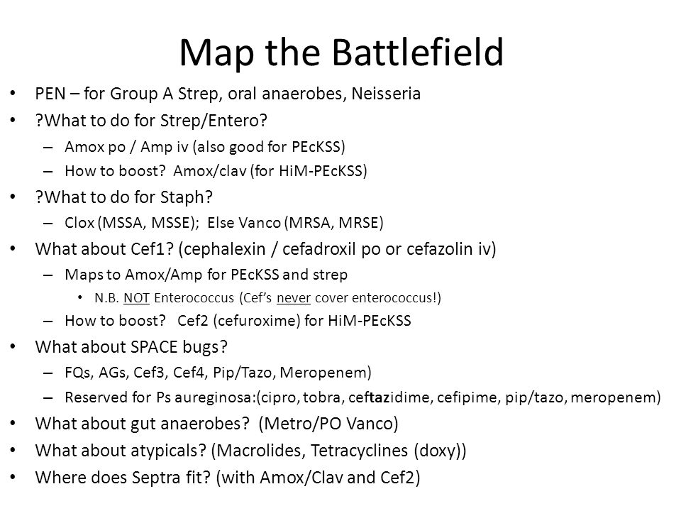 Map the Battlefield PEN – for Group A Strep, oral anaerobes, Neisseria ?What to do for Strep/Entero? – Amox po / Amp iv (also good for PEcKSS) – How t