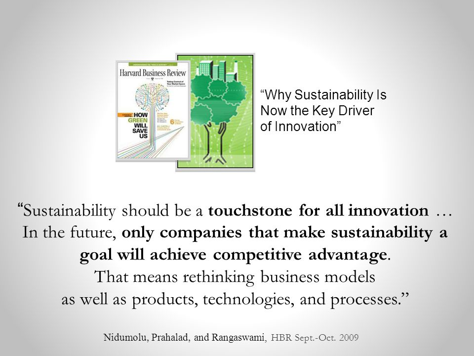 Sustainability should be a touchstone for all innovation … In the future, only companies that make sustainability a goal will achieve competitive advantage.