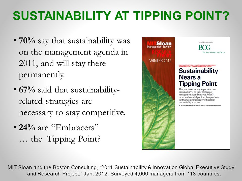 MIT Sloan and the Boston Consulting, 2011 Sustainability & Innovation Global Executive Study and Research Project, Jan.