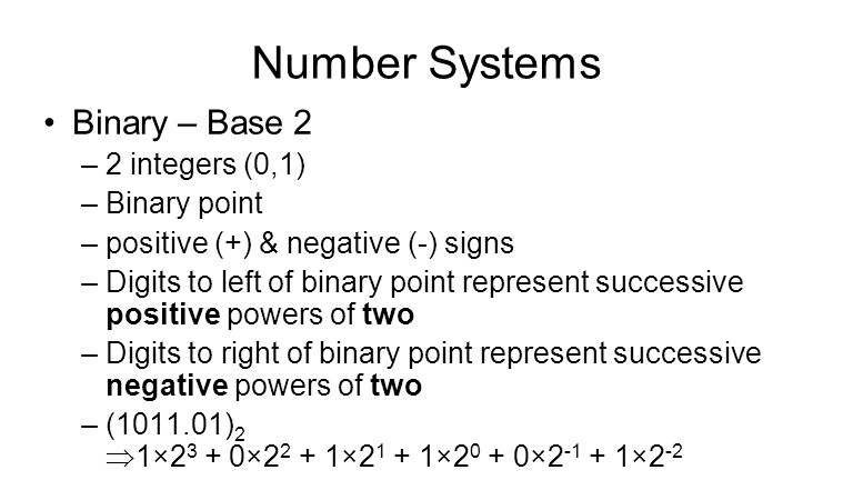 Number Systems Binary – Base 2 –2 integers (0,1) –Binary point –positive (+) & negative (-) signs –Digits to left of binary point represent successive positive powers of two –Digits to right of binary point represent successive negative powers of two –( ) 2  1× × × × × ×2 -2