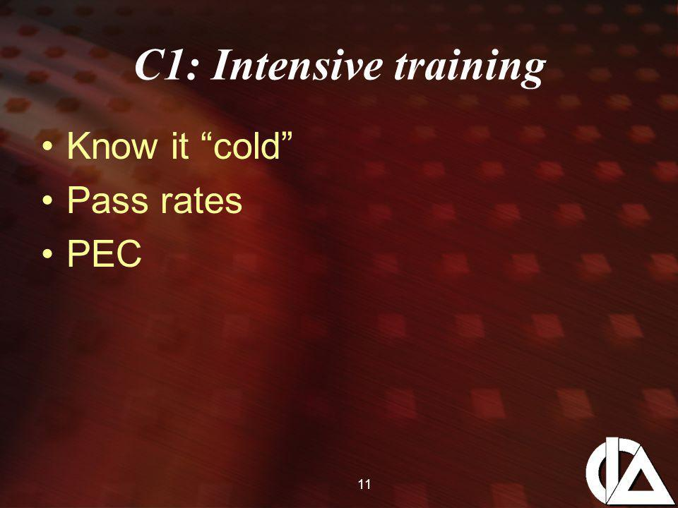11 C1: Intensive training Know it cold Pass rates PEC