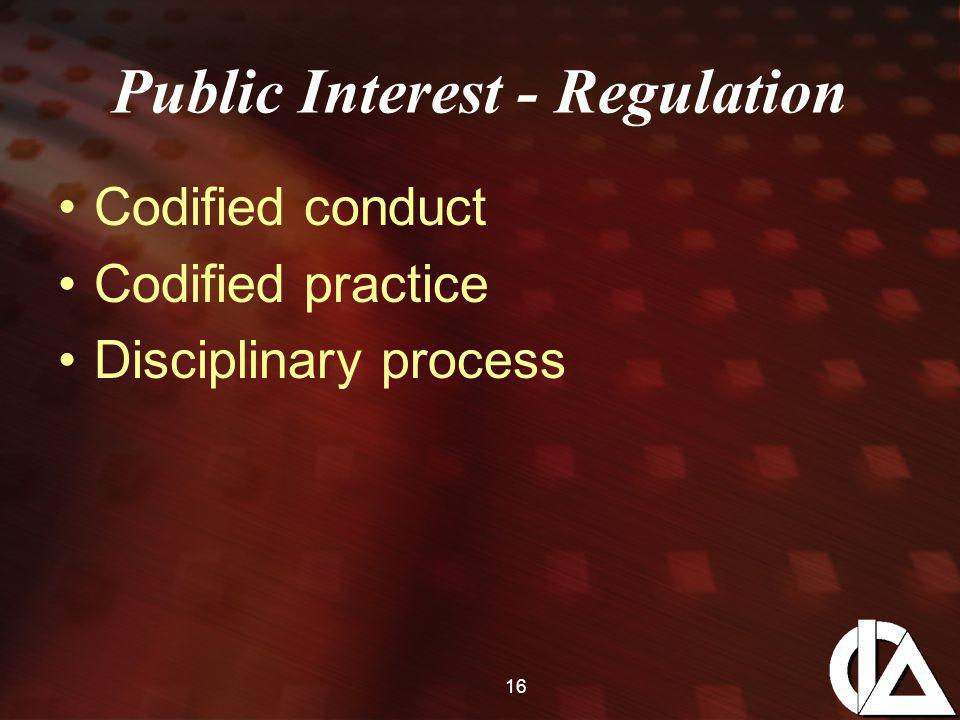 16 Public Interest - Regulation Codified conduct Codified practice Disciplinary process