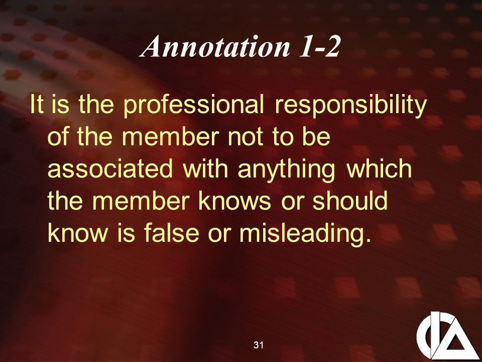 31 Annotation 1-2 It is the professional responsibility of the member not to be associated with anything which the member knows or should know is false or misleading.