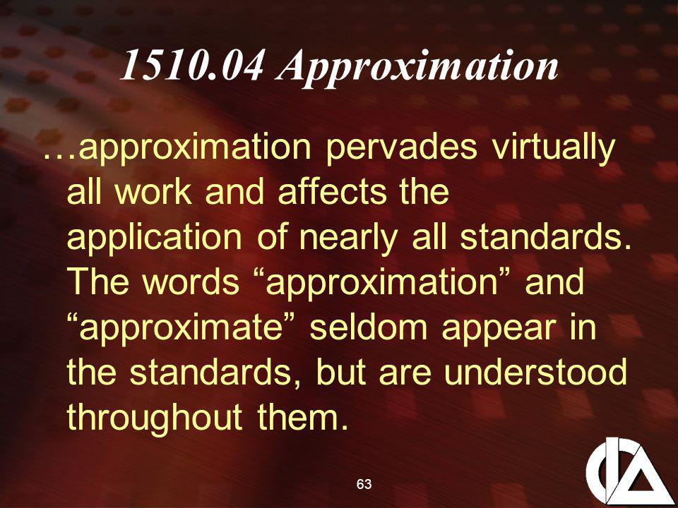 63 1510.04 Approximation …approximation pervades virtually all work and affects the application of nearly all standards.