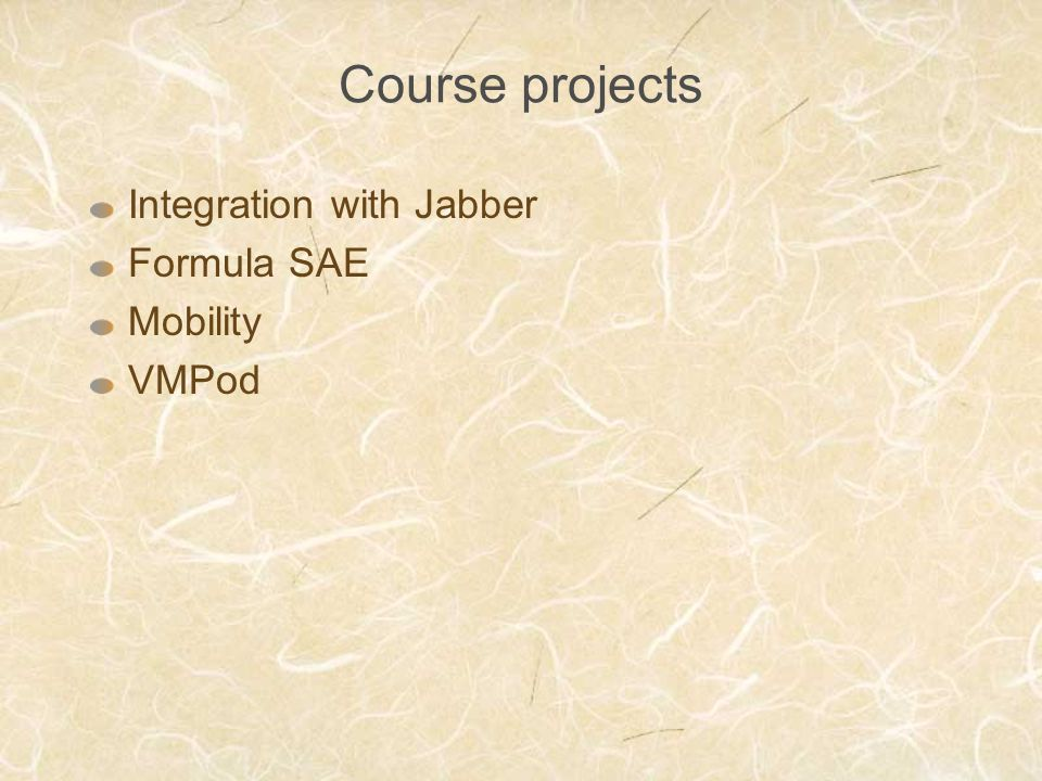 Course projects Integration with Jabber Formula SAE Mobility VMPod