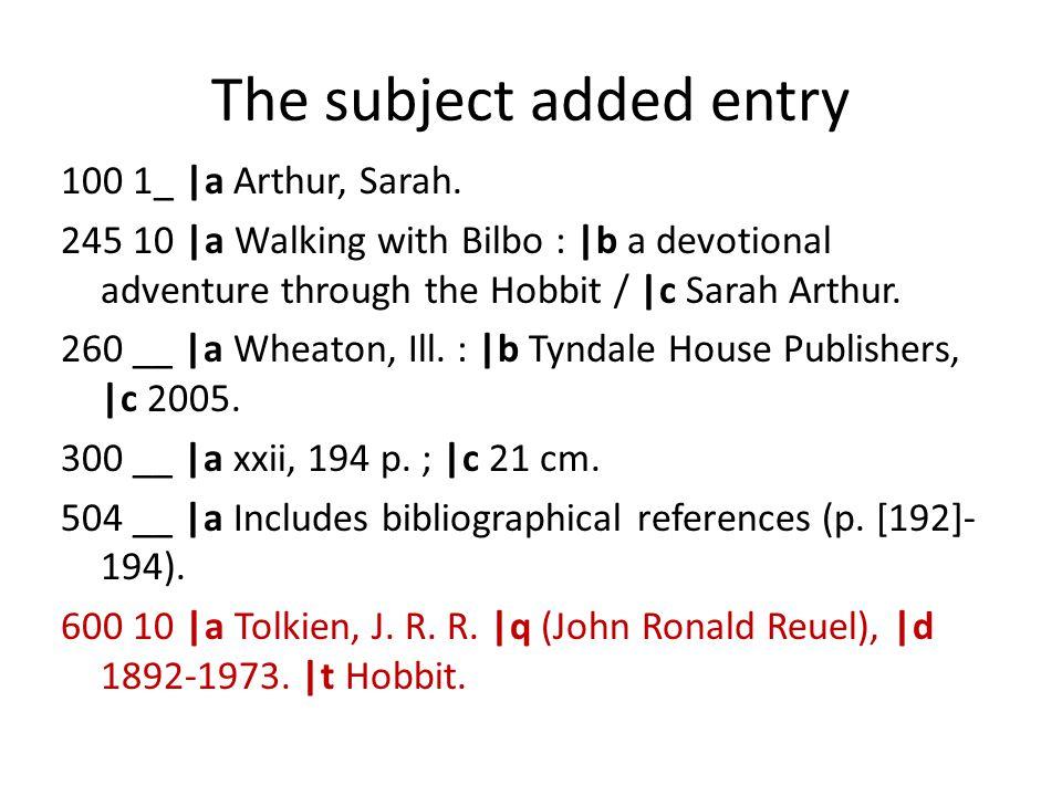 100 1_ |a Arthur, Sarah. 245 10 |a Walking with Bilbo : |b a devotional adventure through the Hobbit / |c Sarah Arthur. 260 __ |a Wheaton, Ill. : |b T