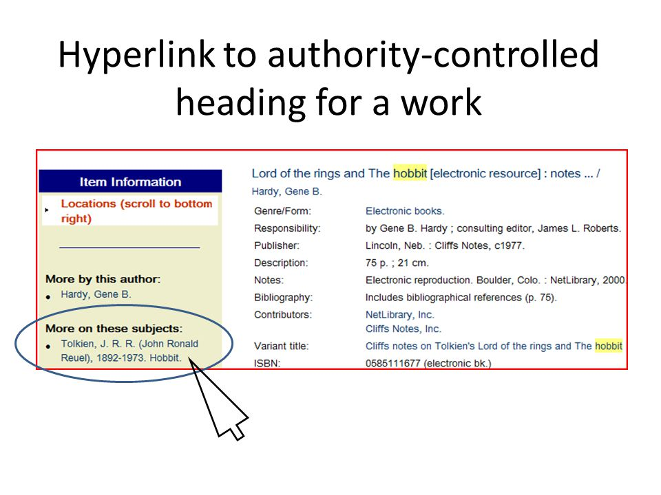 Hyperlink to authority-controlled heading for a work