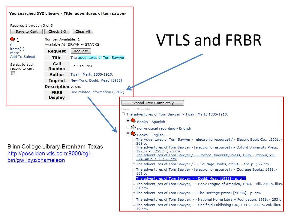 VTLS and FRBR Blinn College Library, Brenham, Texas http://poseidon.vtls.com:8000/cgi- bin/gw_xyz/chameleon http://poseidon.vtls.com:8000/cgi- bin/gw_
