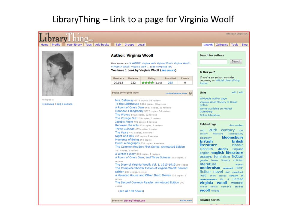 LibraryThing – Link to a page for Virginia Woolf