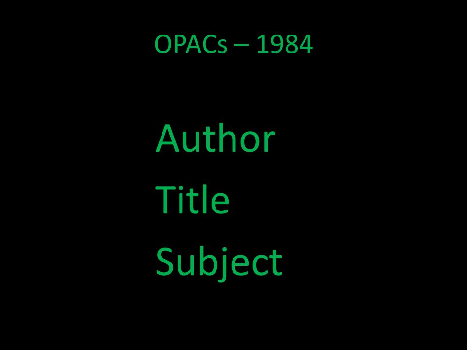 OPACs – 1984 Author Title Subject